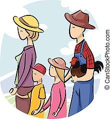 família, agricultor