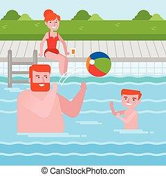 família, caucasiano, divertimento, feliz, tendo, piscina, natação