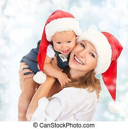 família, chapéus, mãe, bebê, natal, feliz