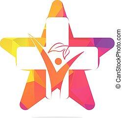 família, conceito, crucifixos, logotipo, saúde, estrela, aid., primeiro, doutor