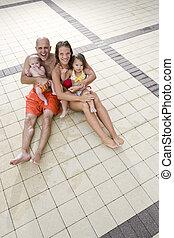 família, convés, jovem, azulejo, retrato, piscina