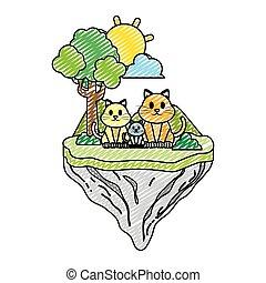 família, doodle, flutuador, gato, animal, ilha