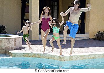família, duas crianças, pular, divertimento, tendo, piscina, natação