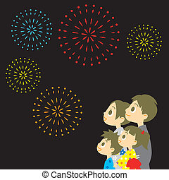família, fogos artifício exibem, japão