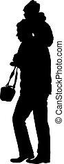família, ilustração, experiência., silhuetas, vetorial, pretas, branca