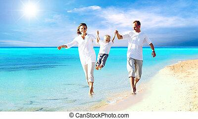 família, jovem, divertimento, feliz, praia, tendo, vista