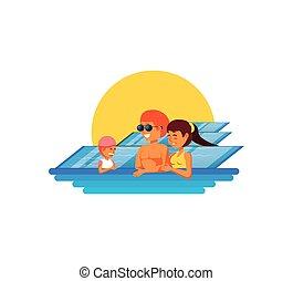 família, luxo, piscina, cena