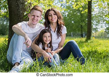 família, parque, prado