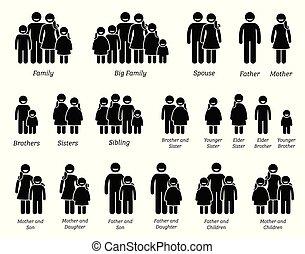 família, pessoas, icons.