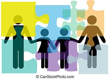 família, pessoas, quebra-cabeça, solução, saúde, serviços, problema