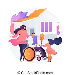 família, vetorial, cuidado, conceito, apoio, metáfora