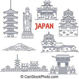 famosos, linha magra, marcos, viagem, ícone, japão
