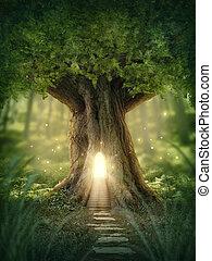 fantasia, casa, árvore