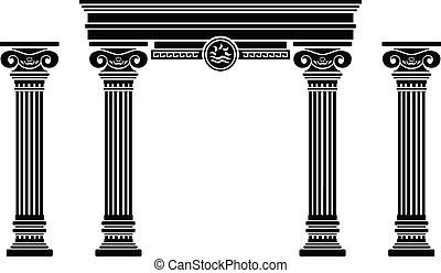 fantasia, estêncil, arco, columns.