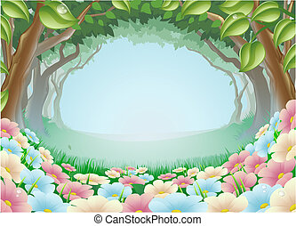 fantasia, floresta, cena