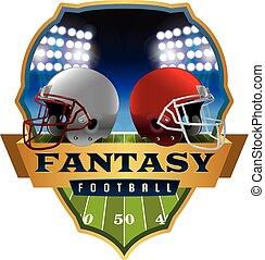 fantasia, futebol americano, emblema, ilustração