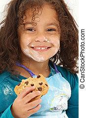 farinha, sorrindo, biscoito, criança