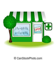 farmácia, icon., casa, vetorial