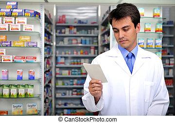 farmacêutico, leitura, prescrição, farmácia