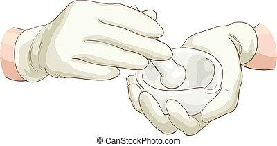 farmacêutico, pilão, mortar., mãos