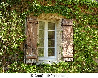 farmhouse, janela, francês, venezianas, &
