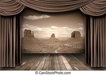 fase, cortinas, fundo, deserto, teatro, penduradas