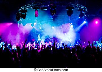 fase, pessoas, dançar, concerto, meninas, anônimo
