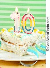 fatia bolo, décimo, aniversário
