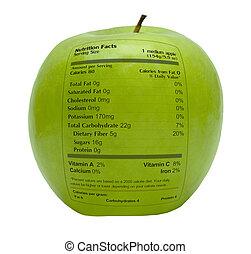 fatos, nutrição, maçã verde