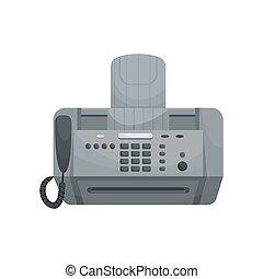 fax., vetorial, dispositivos, phones., isolado, escritório, impressoras
