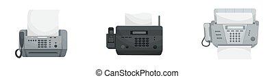 faxes., vetorial, dispositivos, phones., jogo, isolado, escritório, três, impressoras