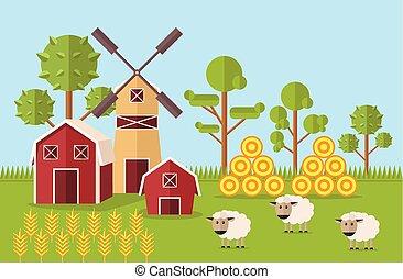 fazenda, apartamento, vetorial, ilustração