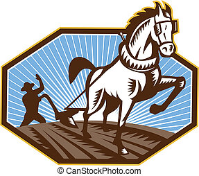 fazenda, cavalo, retro, arar, agricultor