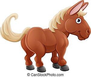 fazenda, cute, cavalo, caricatura, animal