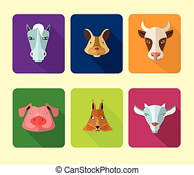fazenda, format., vetorial, animais, icons.
