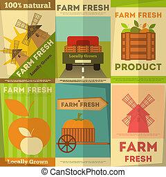fazenda fresco, jogo, cartazes