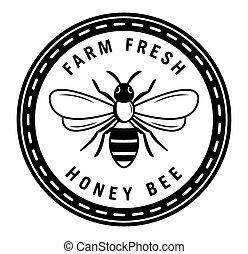 fazenda fresco, mel, emblema, abelha