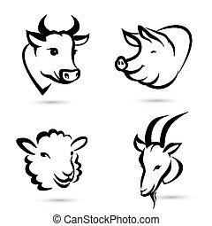 fazenda, jogo, animais, ícones