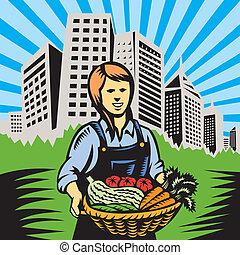 fazenda, produto orgânico, agricultor, colheita