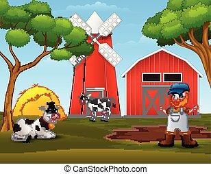 fazenda, vacas, antigas, agricultor