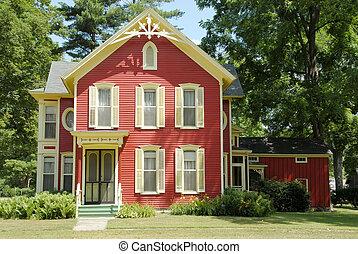 fazenda, vermelho, casa