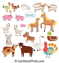 fazenda, vetorial, ilustração, animals.