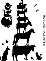 fazenda, vetorial, jogo, animais