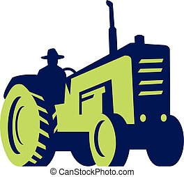 fazenda, vindima, dirigindo, trator, agricultor