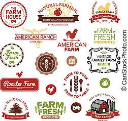 fazenda, vindima, etiquetas, modernos