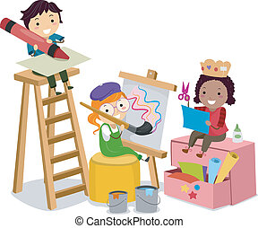 fazer, artes, crianças, stickman, ofícios