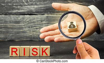 fazer, decision., direita, risco, mercado, dólares, inscrição, propriedade, mãos, legal, riscos, financeiro, project., insurance., businessman., investir, conceito, negócio