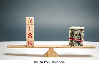 fazer, escalas., propriedade, conceito, risco, insurance., negócio, project., mercado, riscos, investir, decision., financeiro, direita, legal, dólares, inscrição