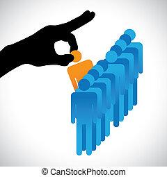 fazer, pessoa, outro, gráfico, candidatos, companhia, hr, escolher, melhor, mostra, mão direita, silueta, escolha, trabalho, habilidades, muitos, employee., ilustração, representado, conceito