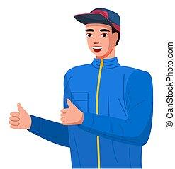 fazer, positivo, jovem, sinal, cima, polegares, ambos, esportes, sweatshirt, sujeito boné, homem, hands.